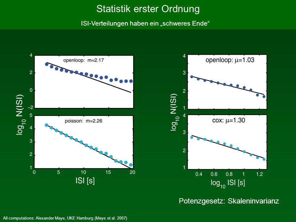 All computations: Alexander Maye, UKE Hamburg (Maye et al. 2007) ISI-Verteilungen haben ein schweres Ende Statistik erster Ordnung Potenzgesetz: Skale