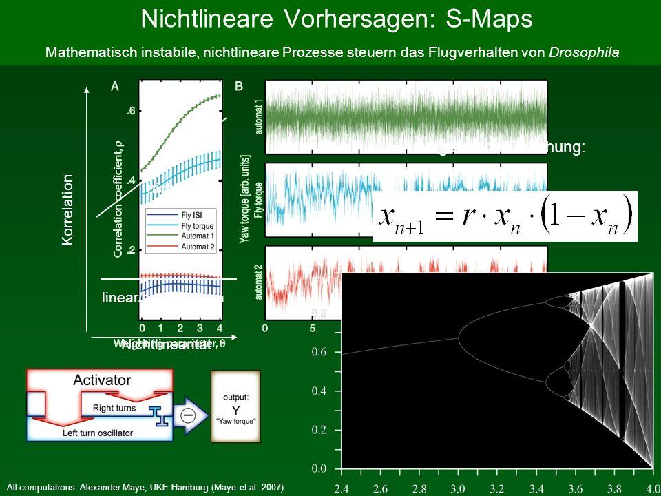 All computations: Alexander Maye, UKE Hamburg (Maye et al. 2007) Mathematisch instabile, nichtlineare Prozesse steuern das Flugverhalten von Drosophil
