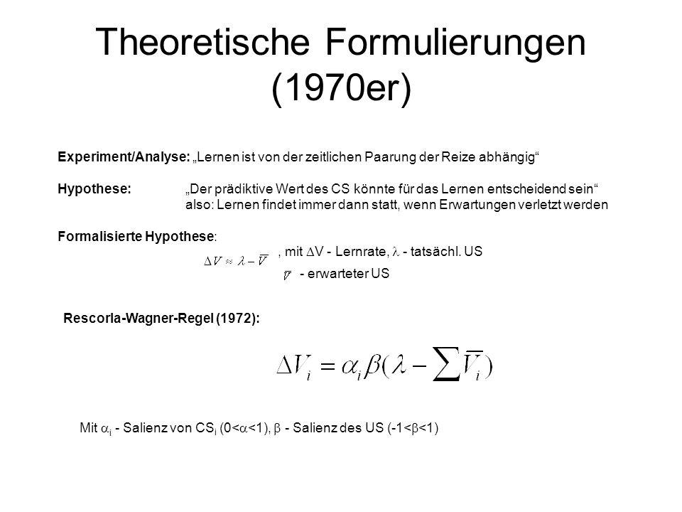 Theoretische Formulierungen (1970er) Experiment/Analyse: Lernen ist von der zeitlichen Paarung der Reize abhängig Hypothese:Der prädiktive Wert des CS
