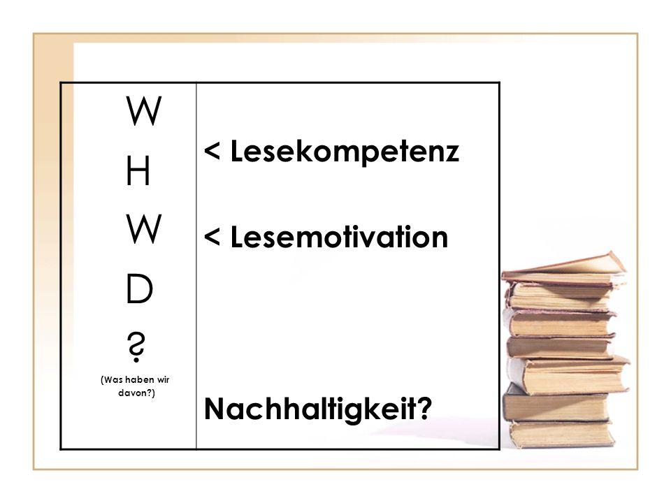 W H W D ? (Was haben wir davon?) < Lesekompetenz < Lesemotivation Nachhaltigkeit?