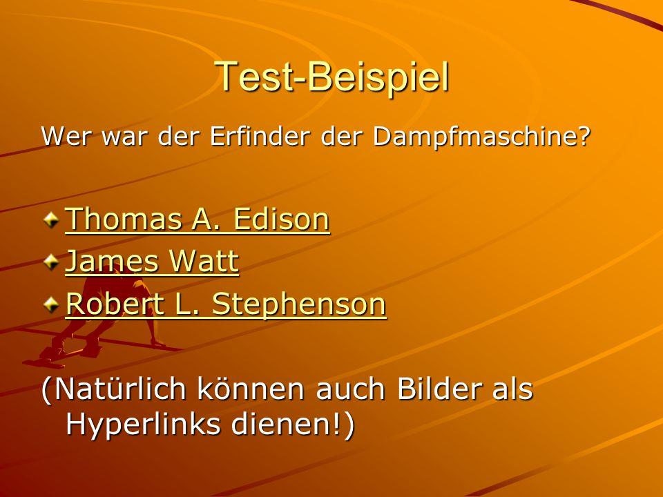 Test-Beispiel Wer war der Erfinder der Dampfmaschine.