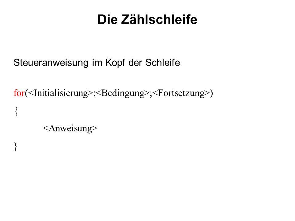 Die Zählschleife for( ; ; ) { } Steueranweisung im Kopf der Schleife