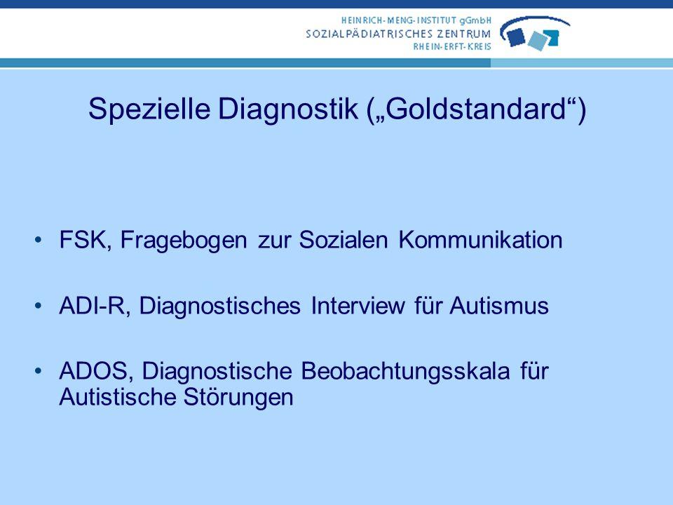 Basisdiagnostik ausführliche Anamnese Beobachtung von Verhalten, Interaktion, Kommunikation Einsatz von Fragebögen ja nach Alter und vermuteter Diagno