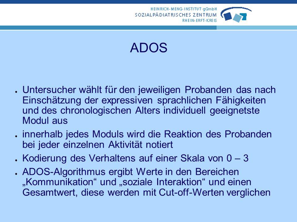 ADOS Vier Module à ca. 50-60 Min. Modul 1: konzipiert für Kinder, die nicht durchgängig Sprache in Sätzen benutzen Modul 2: konzipiert für Kinder, die