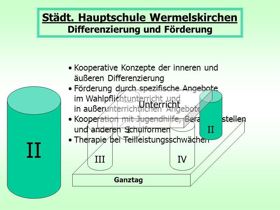 Kooperative Konzepte der inneren und äußeren Differenzierung Förderung durch spezifische Angebote im Wahlpflichtunterricht und in außerunterrichtliche