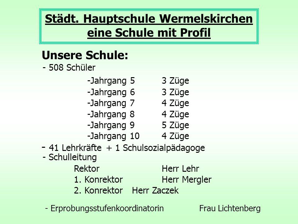 Städt. Hauptschule Wermelskirchen eine Schule mit Profil Unsere Schule: - 508 Schüler -Jahrgang 5 3 Züge -Jahrgang 6 3 Züge -Jahrgang 7 4 Züge -Jahrga