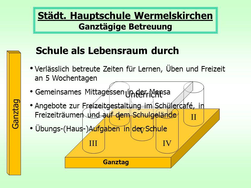 Ganztag III III IV V Unterricht Städt. Hauptschule Wermelskirchen Ganztägige Betreuung Ganztag Verlässlich betreute Zeiten für Lernen, Üben und Freize