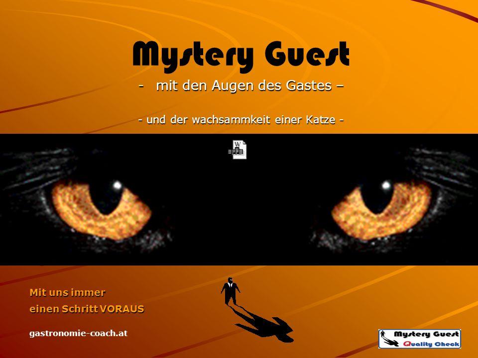 Mit uns immer einen Schritt VORAUS gastronomie-coach.at Mystery Guest -mit den Augen des Gastes – - und der wachsammkeit einer Katze -