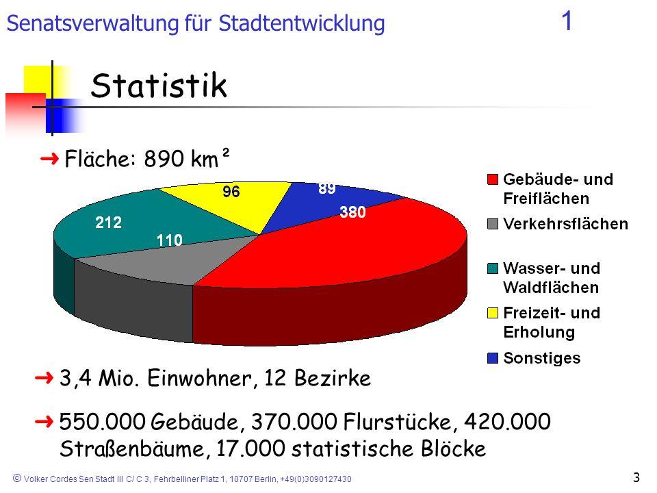 Senatsverwaltung für Stadtentwicklung 1 © Volker Cordes Sen Stadt III C/ C 3, Fehrbelliner Platz 1, 10707 Berlin, +49(0)3090127430 3 Statistik ÜFläche