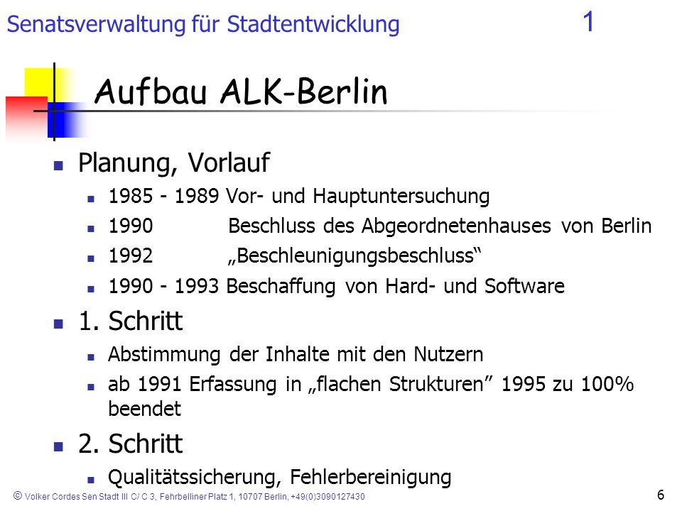 Senatsverwaltung für Stadtentwicklung 1 © Volker Cordes Sen Stadt III C/ C 3, Fehrbelliner Platz 1, 10707 Berlin, +49(0)3090127430 6 Planung, Vorlauf