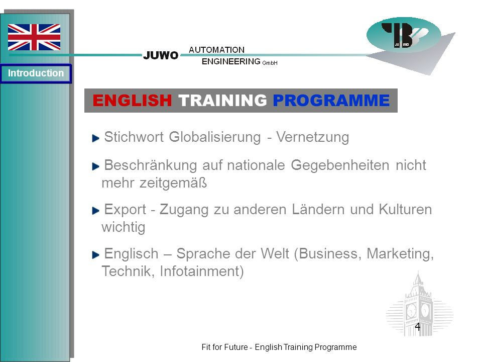 Fit for Future - English Training Programme Stichwort Globalisierung - Vernetzung ENGLISH TRAINING PROGRAMME Englisch – Sprache der Welt (Business, Ma