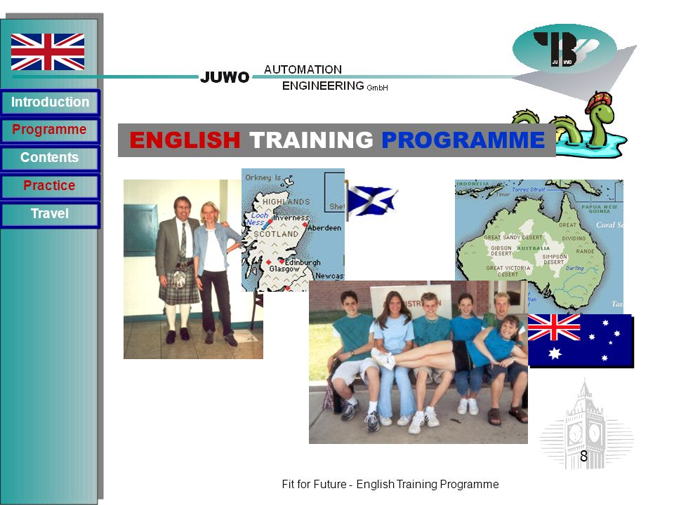 Fit for Future - English Training Programme Programme Introduction Contents Practice ENGLISH TRAINING PROGRAMME Travel 8