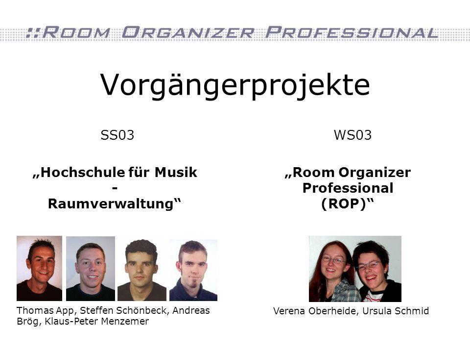 Vorgängerprojekte SS03WS03 Thomas App, Steffen Schönbeck, Andreas Brög, Klaus-Peter Menzemer Hochschule für Musik - Raumverwaltung Verena Oberheide, Ursula Schmid Room Organizer Professional (ROP)