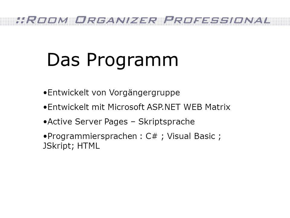 Das Programm Entwickelt von Vorgängergruppe Entwickelt mit Microsoft ASP.NET WEB Matrix Active Server Pages – Skriptsprache Programmiersprachen : C# ;