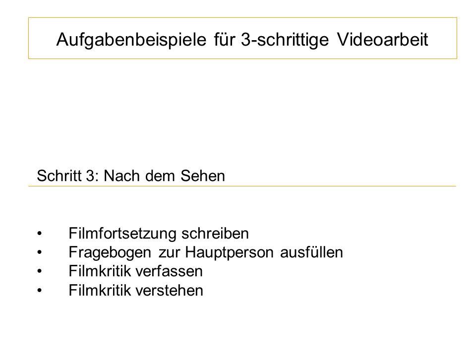 Aufgabenbeispiele für 3-schrittige Videoarbeit Schritt 3: Nach dem Sehen Filmfortsetzung schreiben Fragebogen zur Hauptperson ausfüllen Filmkritik verfassen Filmkritik verstehen