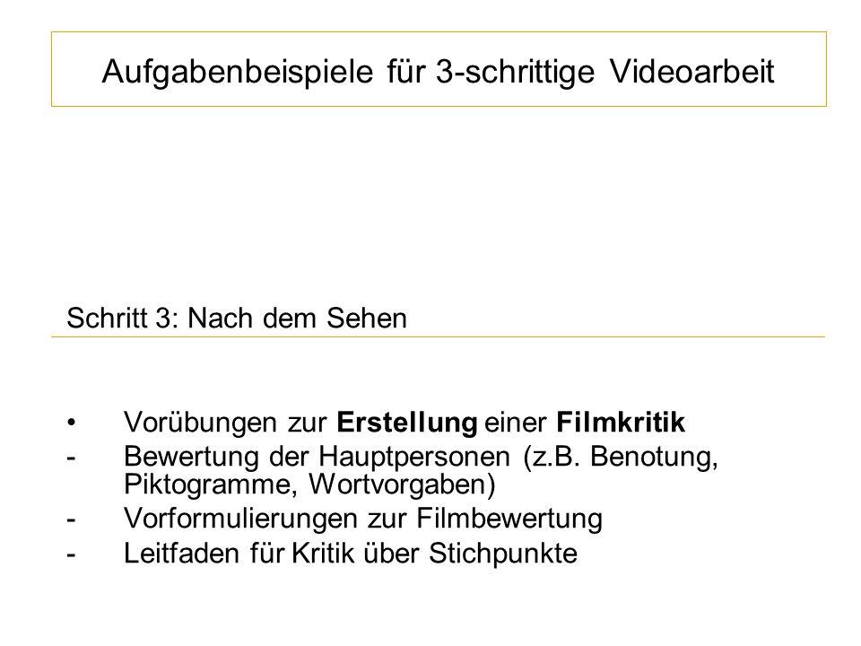 Aufgabenbeispiele für 3-schrittige Videoarbeit Schritt 3: Nach dem Sehen Vorübungen zur Erstellung einer Filmkritik -Bewertung der Hauptpersonen (z.B.