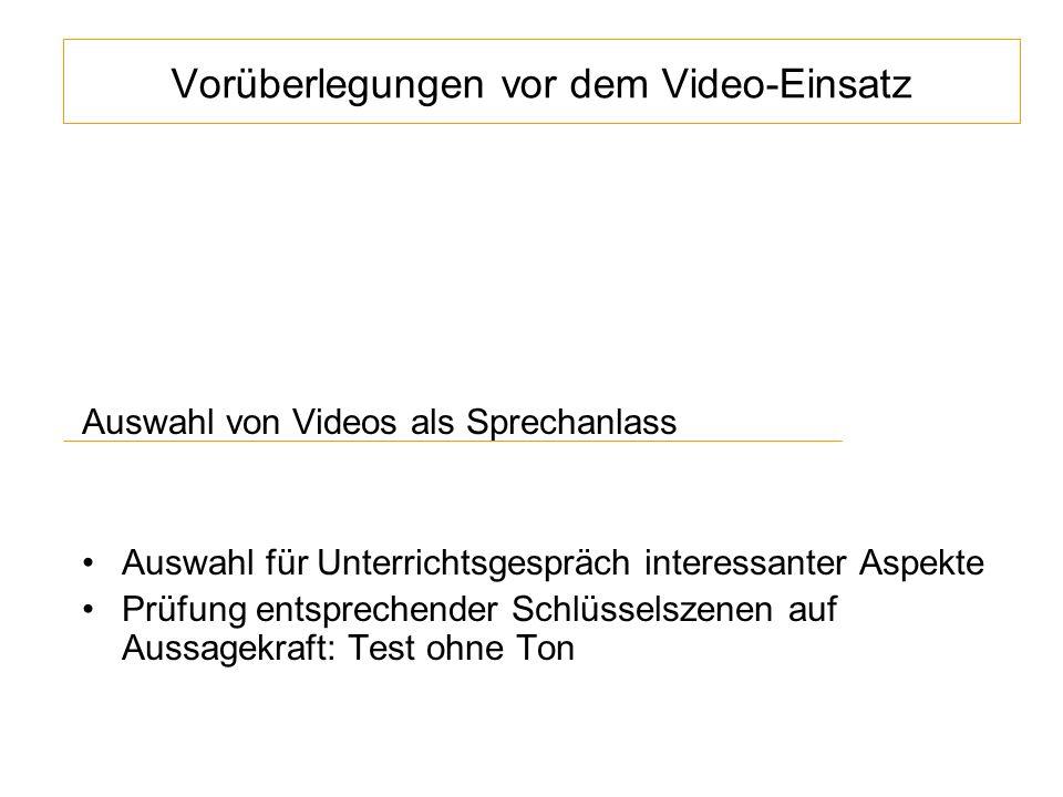 Vorüberlegungen vor dem Video-Einsatz Auswahl von Videos als Sprechanlass Auswahl für Unterrichtsgespräch interessanter Aspekte Prüfung entsprechender