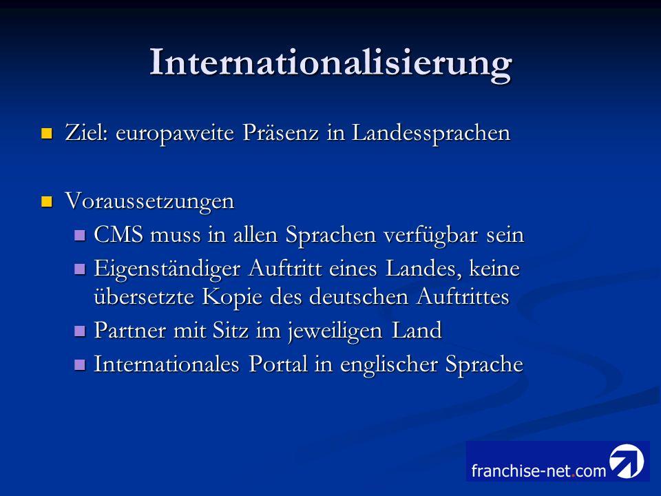Internationalisierung Ziel: europaweite Präsenz in Landessprachen Ziel: europaweite Präsenz in Landessprachen Voraussetzungen Voraussetzungen CMS muss