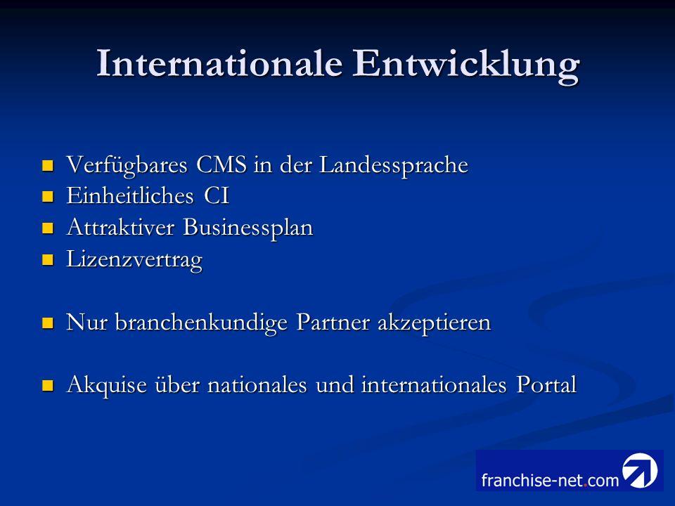 Internationale Entwicklung Verfügbares CMS in der Landessprache Verfügbares CMS in der Landessprache Einheitliches CI Einheitliches CI Attraktiver Bus