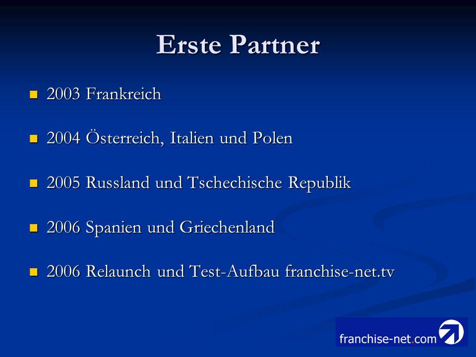 Erste Partner 2003 Frankreich 2003 Frankreich 2004 Österreich, Italien und Polen 2004 Österreich, Italien und Polen 2005 Russland und Tschechische Rep