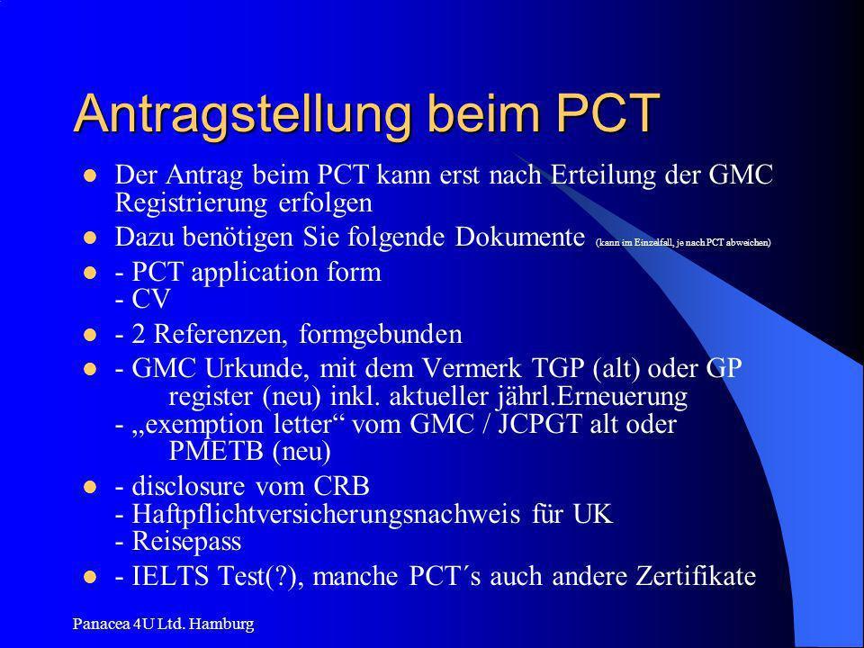 Panacea 4U Ltd. Hamburg Antragstellung beim PCT Der Antrag beim PCT kann erst nach Erteilung der GMC Registrierung erfolgen Dazu benötigen Sie folgend