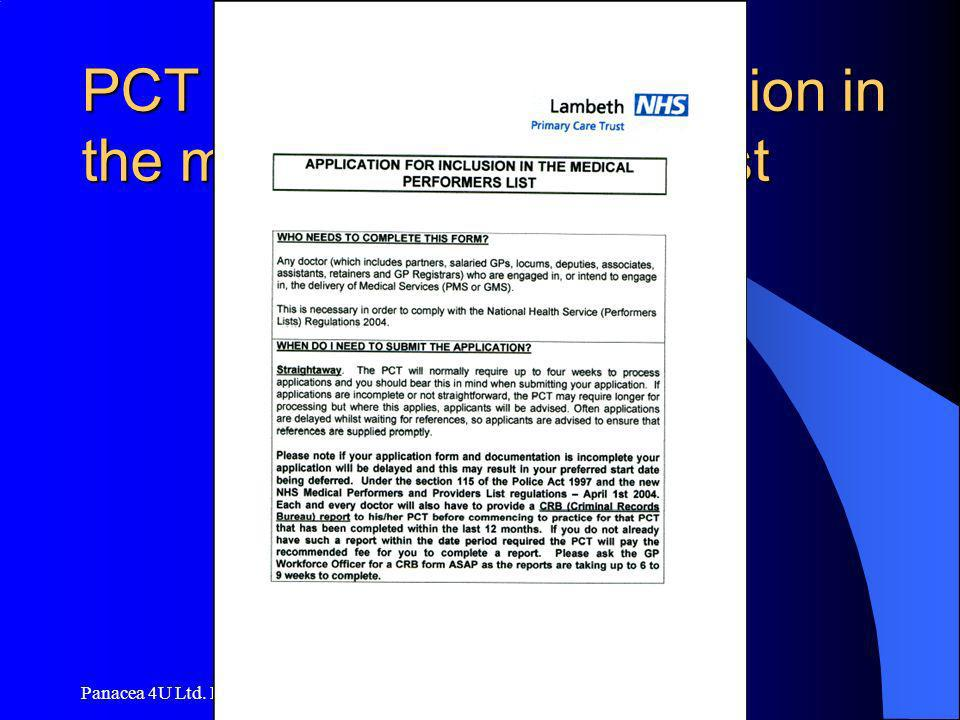 Panacea 4U Ltd. Hamburg PCT application for inclusion in the medical performers list