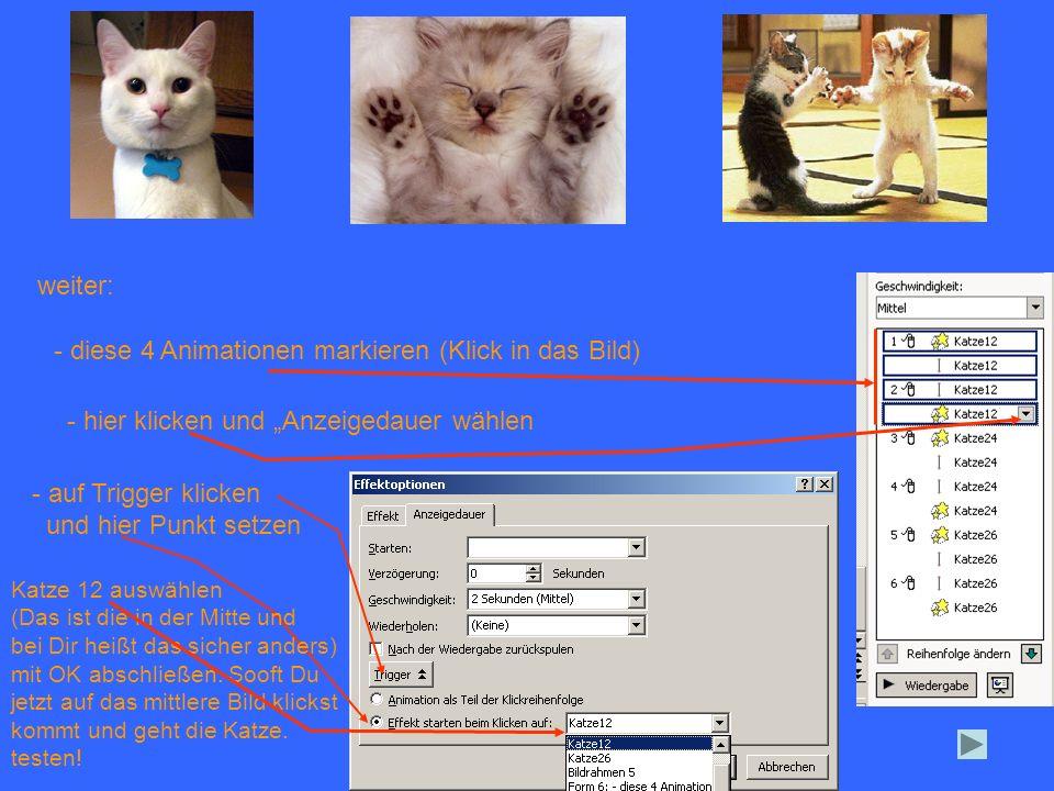 weiter: - diese 4 Animationen markieren (Klick in das Bild) - hier klicken und Anzeigedauer wählen - auf Trigger klicken und hier Punkt setzen Katze 1