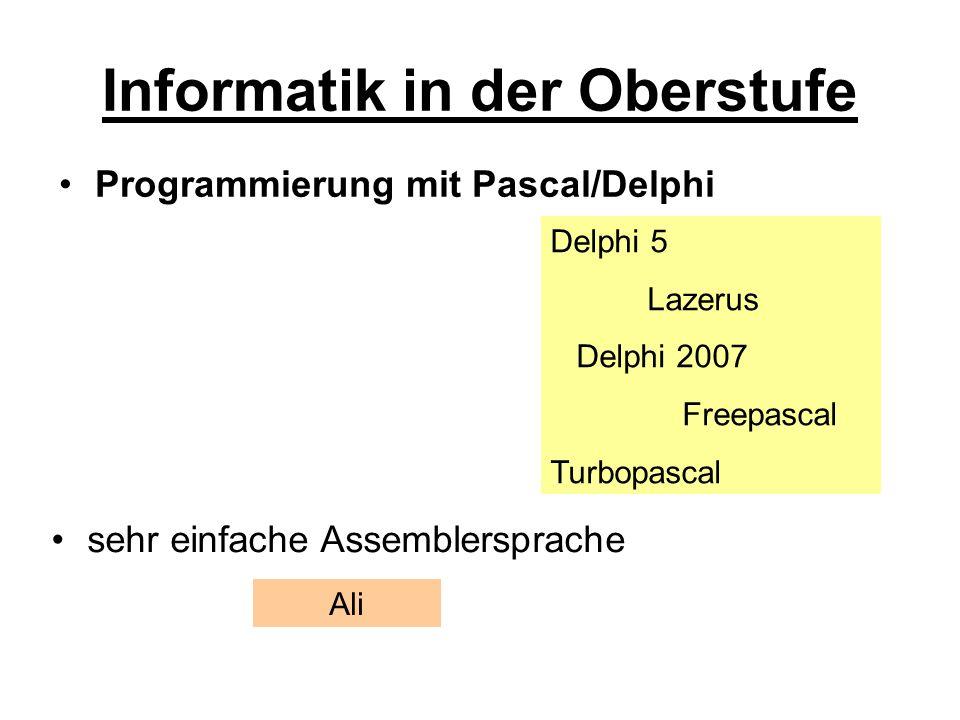 Informatik in der Oberstufe Einführung in Algorithmen (Lösungsstrategien) Datenstrukturen Objekt-Orientierte-Programmierung Maschinensprache
