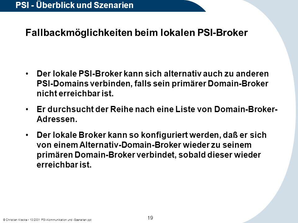 © Christian Kracke 10/2001 PSI-Kommunikation und -Szenarien.ppt 19 PSI - Überblick und Szenarien Fallbackmöglichkeiten beim lokalen PSI-Broker Der lok