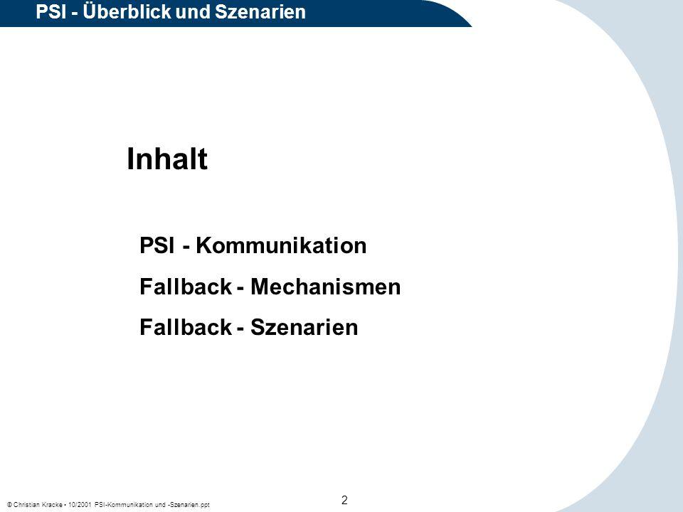 © Christian Kracke 10/2001 PSI-Kommunikation und -Szenarien.ppt 13 PSI - Überblick und Szenarien Wenn in einem PSI-Bereich ein PSI-Prozeß mit einer bestimmten lokalen Prozeß-ID aktiv ist, kann ein Client- Prozeß einen PSI-Public-Prozeß gleicher ID nicht erreichen.