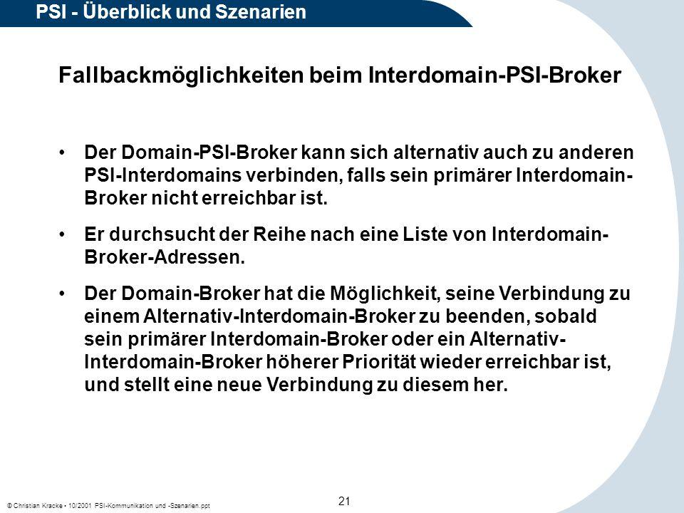 © Christian Kracke 10/2001 PSI-Kommunikation und -Szenarien.ppt 21 PSI - Überblick und Szenarien Fallbackmöglichkeiten beim Interdomain-PSI-Broker Der