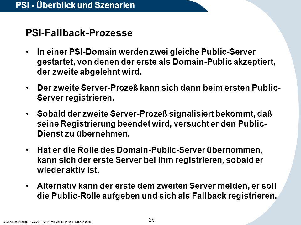 © Christian Kracke 10/2001 PSI-Kommunikation und -Szenarien.ppt 26 PSI - Überblick und Szenarien PSI-Fallback-Prozesse In einer PSI-Domain werden zwei