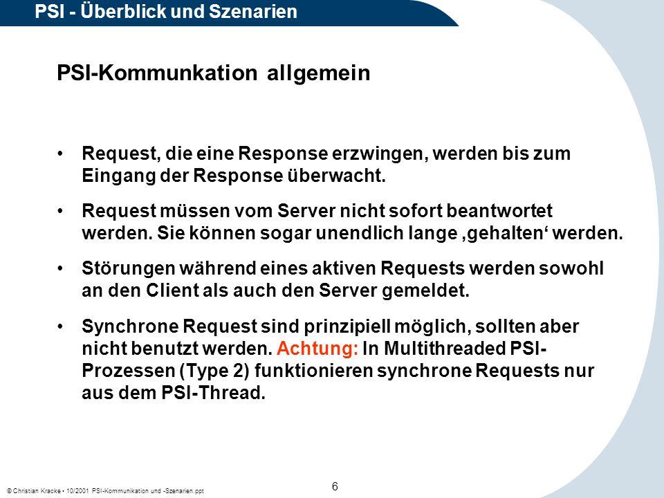 © Christian Kracke 10/2001 PSI-Kommunikation und -Szenarien.ppt 17 PSI - Überblick und Szenarien Request von einem Client an eine Server-Prozeß-ID, die als lokale PSI-Prozeß-ID im lokalen PSI-Bereich und in der eigenen PSI-Domain nicht vorhanden ist, wird über den Domain-Broker an den Interdomain-Broker weitergereicht.