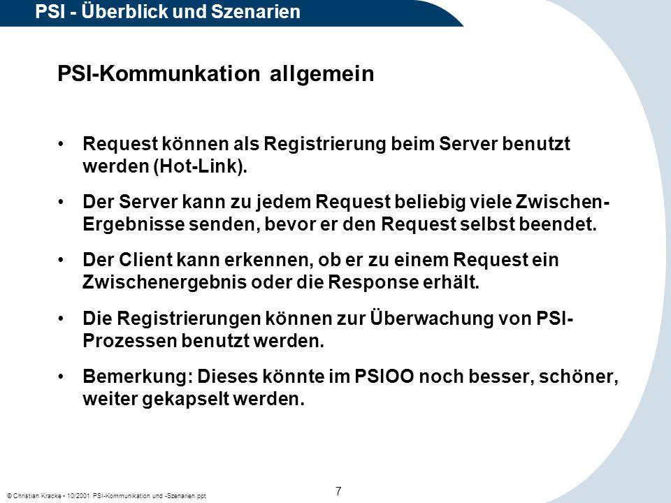 © Christian Kracke 10/2001 PSI-Kommunikation und -Szenarien.ppt 8 PSI - Überblick und Szenarien Lokale Kommunikation MCC Process PSI-Bereich Agent Process Timer Process ACD-TC Process Request Response Client Client/ Server Zwischen- ergenisse