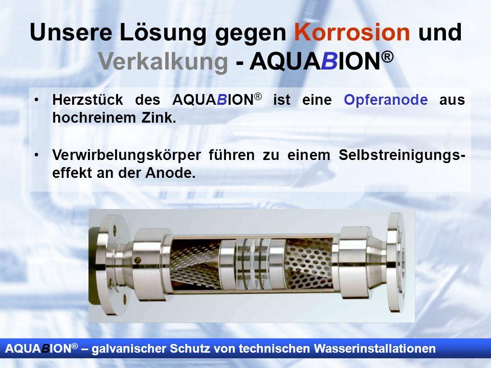 AQUABION ® – galvanischer Schutz von technischen Wasserinstallationen Unsere Lösung gegen Korrosion und Verkalkung - AQUABION ® Herzstück des AQUABION