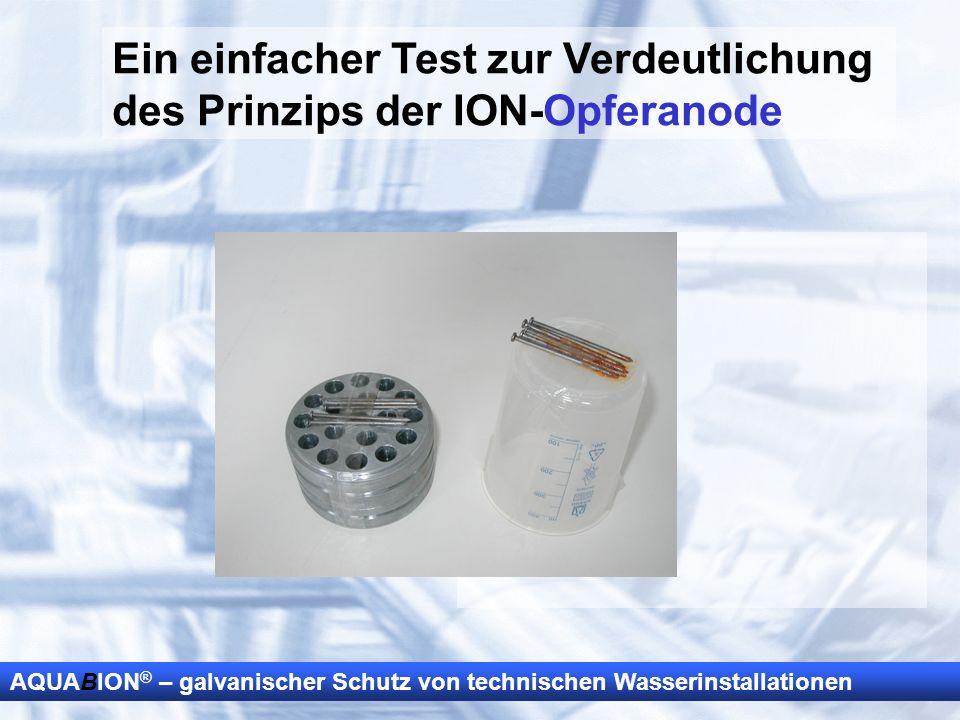 AQUABION ® – galvanischer Schutz von technischen Wasserinstallationen Ein einfacher Test zur Verdeutlichung des Prinzips der ION-Opferanode