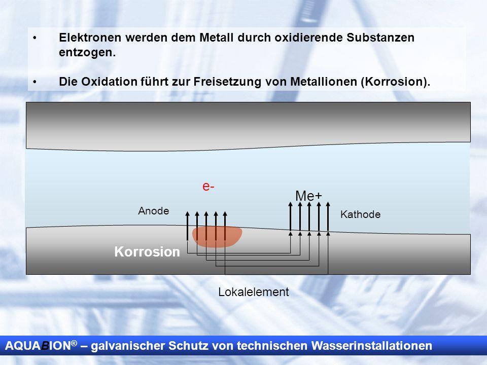 AQUABION ® – galvanischer Schutz von technischen Wasserinstallationen Elektronen werden dem Metall durch oxidierende Substanzen entzogen. Die Oxidatio