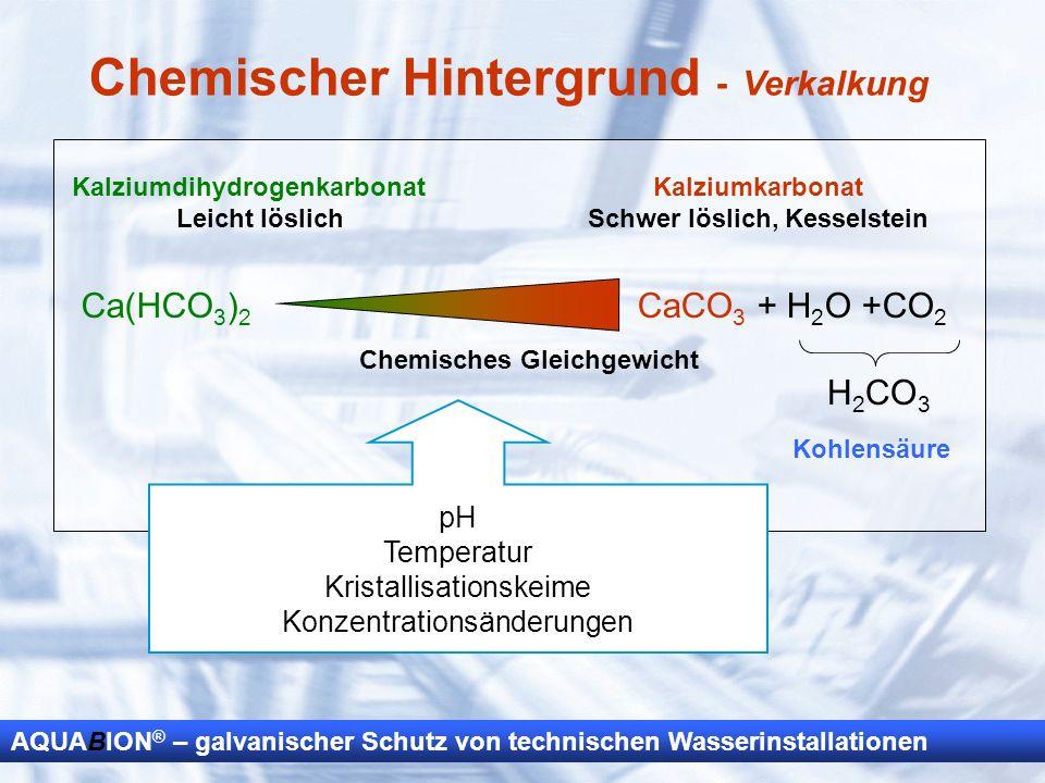AQUABION ® – galvanischer Schutz von technischen Wasserinstallationen Kalziumdihydrogenkarbonat Leicht löslich Ca(HCO 3 ) 2 CaCO 3 + H 2 O +CO 2 H 2 C