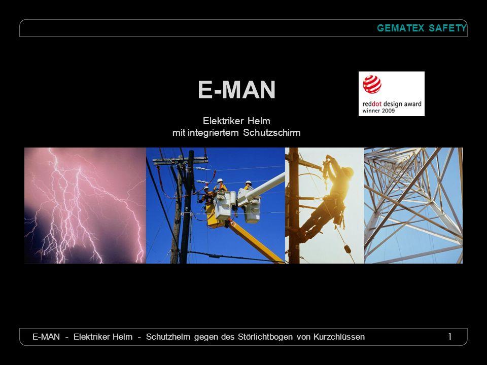 1 GEMATEX SAFETY E-MAN - Elektriker Helm - Schutzhelm gegen des Störlichtbogen von Kurzchlüssen E-MAN Elektriker Helm mit integriertem Schutzschirm