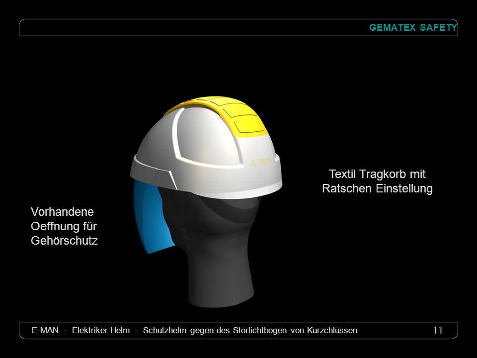 11 GEMATEX SAFETY E-MAN - Elektriker Helm - Schutzhelm gegen des Störlichtbogen von Kurzchlüssen Textil Tragkorb mit Ratschen Einstellung Vorhandene O