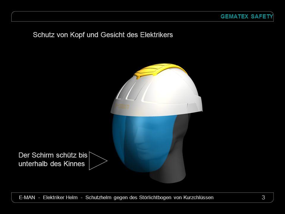 14 GEMATEX SAFETY E-MAN - Elektriker Helm - Schutzhelm gegen des Störlichtbogen von Kurzchlüssen E-MAN Elektriker Helm mit integriertem Schutzschirm