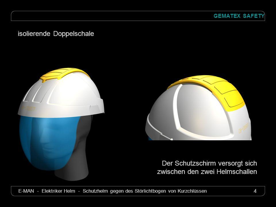 4 GEMATEX SAFETY E-MAN - Elektriker Helm - Schutzhelm gegen des Störlichtbogen von Kurzchlüssen Der Schutzschirm versorgt sich zwischen den zwei Helms