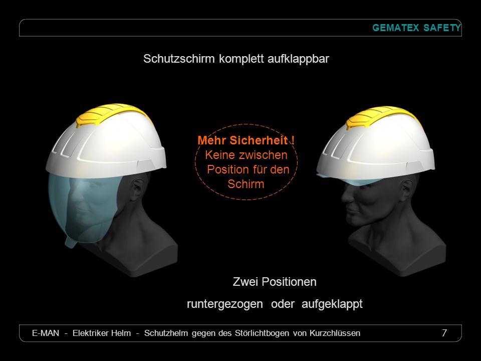 7 GEMATEX SAFETY E-MAN - Elektriker Helm - Schutzhelm gegen des Störlichtbogen von Kurzchlüssen Mehr Sicherheit ! Keine zwischen Position für den Schi