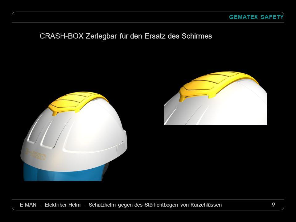 10 GEMATEX SAFETY E-MAN - Elektriker Helm - Schutzhelm gegen des Störlichtbogen von Kurzchlüssen Eigenschaften Helm und Shirm Optische Qualität : 1 Elektrische : Markierung 8 Mechanische : Markierung B Kemische : Markierung 3 (nach EN 166)