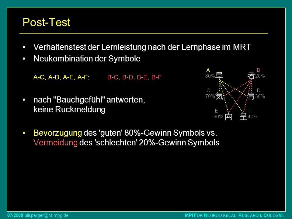 07/2008 ullsperger@nf.mpg.de MPI F OR N EUROLOGICAL R ESEARCH, C OLOGNE Post-Test Verhaltenstest der Lernleistung nach der Lernphase im MRT Neukombina