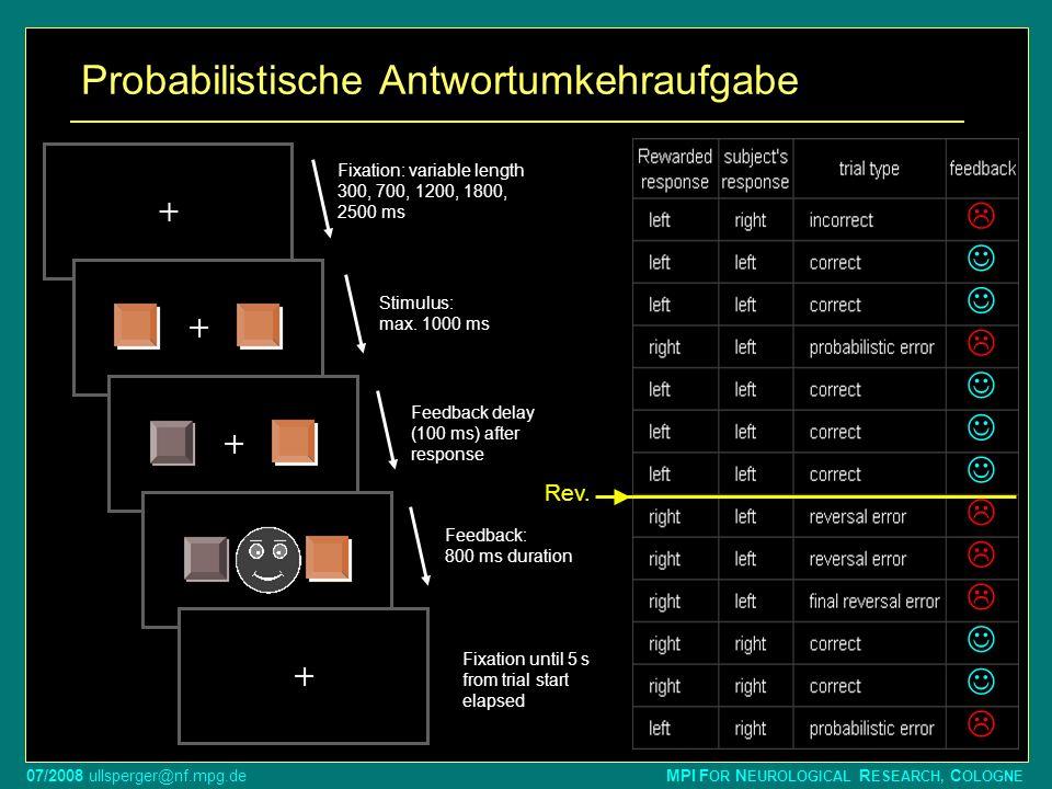 07/2008 ullsperger@nf.mpg.de MPI F OR N EUROLOGICAL R ESEARCH, C OLOGNE Probabilistische Antwortumkehraufgabe Fixation: variable length 300, 700, 1200