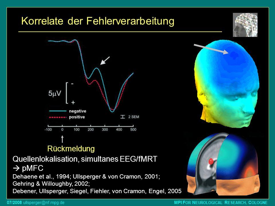 07/2008 ullsperger@nf.mpg.de MPI F OR N EUROLOGICAL R ESEARCH, C OLOGNE Reaktion -200800 ms - µV + falsch richtig Rückmeldung Korrelate der Fehlervera