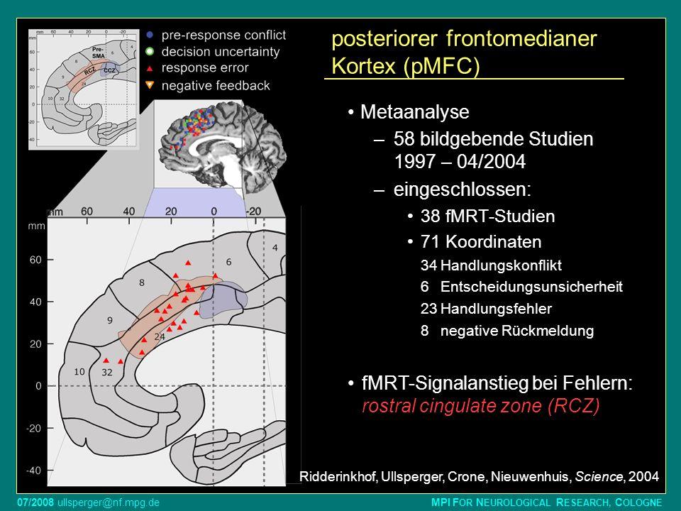 07/2008 ullsperger@nf.mpg.de MPI F OR N EUROLOGICAL R ESEARCH, C OLOGNE posteriorer frontomedianer Kortex (pMFC) Metaanalyse –58 bildgebende Studien 1