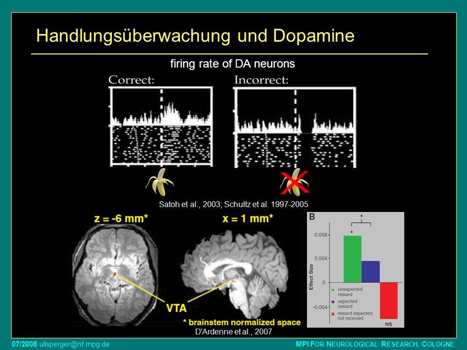 07/2008 ullsperger@nf.mpg.de MPI F OR N EUROLOGICAL R ESEARCH, C OLOGNE Handlungsüberwachung und Dopamine Satoh et al., 2003; Schultz et al. 1997-2005