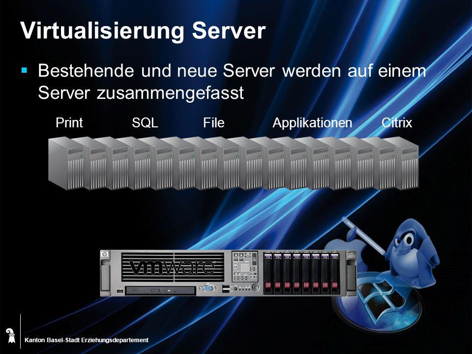Kanton Basel-Stadt CitrixApplikationen Virtualisierung Server Bestehende und neue Server werden auf einem Server zusammengefasst FileSQLPrint Erziehun